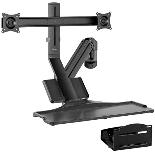 VIVO Premium Dual Monitor Counterbalance Sit-Stand Wall Mount with Keyboard Tray and CPU Holder | Standing Transition Workstation (STAND-SIT2WD) -