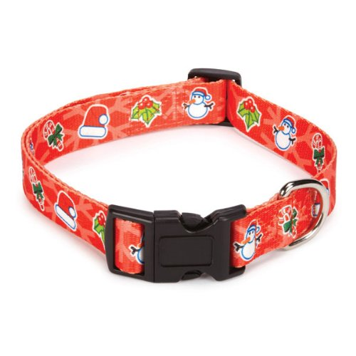 Casual Canine Polyester Holly Jolly Dog Collar and Lead Set, 10 to 16-Inch, Joy