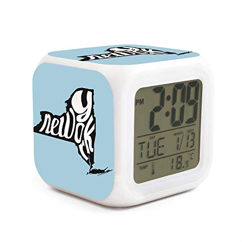 DHBVNMQHHT Alarm Clock Wake Up Bedroom with Data and Temperature Display (Changable Color) Size L8cm x W8cm xH8cm New York State Map