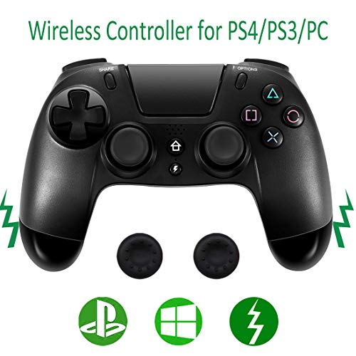 PS4 Wireless Controller, Dual Vibration Touch Pad Audio Jack Build-in Speaker for Playstation 4/PS3/Windows 7/8/10 Motion Gamepad Controller+2pcs Thumb Grip Cover by Jazane (Third Party Product) (Best Third Party Ps3 Controller)