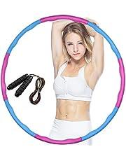 Hoelahoepel voor beweging Hoelahoep Hula Hoop Weighted Fitness soft met Springtouwen Hula Hoop banden voor volwassenen afneembaar