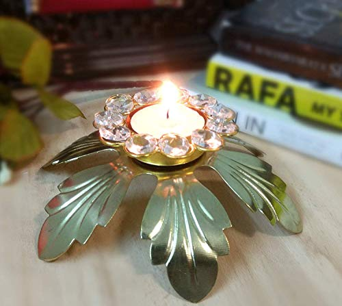 TiedRibbons Crystal Studded Brass Tealight Candle Holder (6 inch X 2.1 inch) Indian Handicraft Centerpiece, Weddings, Parties, Holiday, Home Decor and Gifts