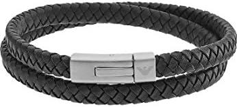 (엠포리오 아르마니) EMPORIO ARMANI 블랙실버 2 겹 롤 팔찌 EGS2176040 [병행 수입 / (Emporio Armani) EMPORIO ARMANI Black x Silver Double Roll Bracelet EGS2176040 [Parallel Import
