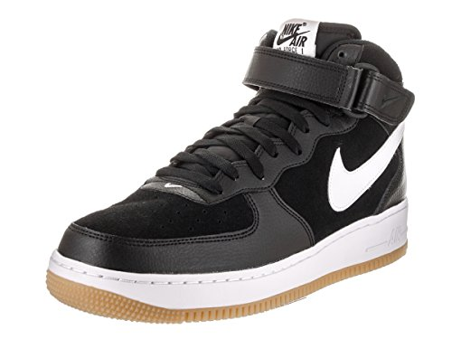 Nike Mens Air Force 1 Metà 07 Nero / Bianco / Gum Med Marrone Scarpa Da Basket 13 Uomini Noi