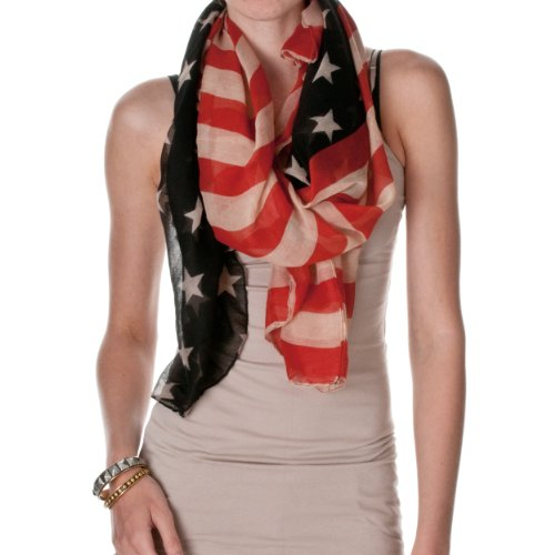 Riverberry Womens Vintage American Flag Scarf, American Flag, One Size - Flag Scarf