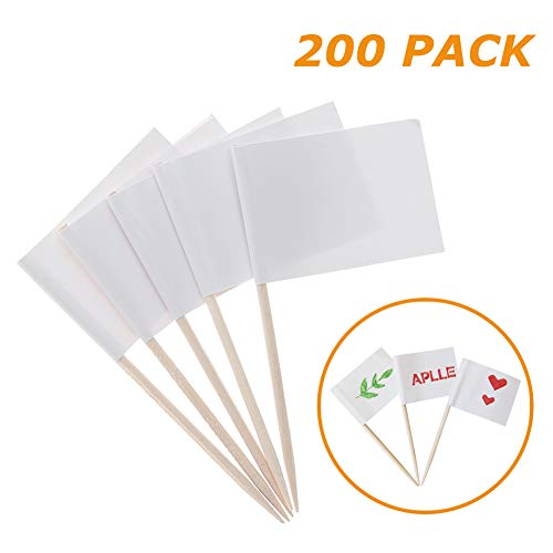 200 Pack Blank Toothpick Flags White Flags Picks Cheese/Fruits Markers for Food Party Cupcakes Food Cheese/Fruit Markers]()