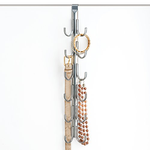 Lynk Over Door Accessory Hanger - Scarf, Belt, Hat, Jewelry Organizer - Vertical 12 Hook Rack - Platinum - Behind Door Hat Rack