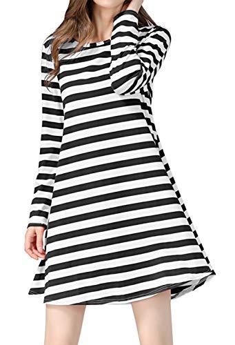 lymanchi Women Long Sleeve Dresses Loose Stripe Flowy Tunic Aline Dress 132 Stripe Black - Striped Dress