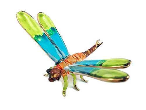 Mr_air_thai_Glass_Blown Tiny Crystal Dragonfly Hand Blown Clear Glass Art Dragonfly Figurine Animals Glass Blown FBM