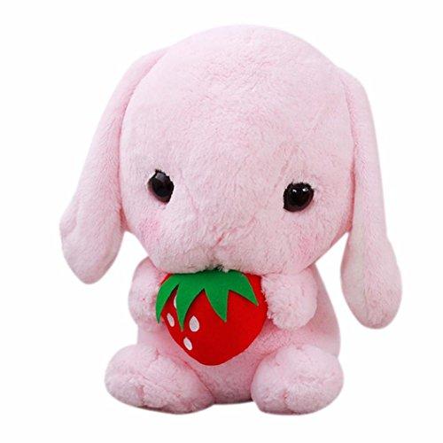 Leegor 23CM Cute Stuffed Simulation Rabbit Soft Toy Cartoon Long Ears Hare Limited Edition Children Plush Doll Xmas Gift Birthday Present (Pink)