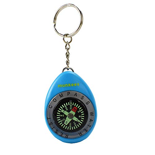 AceCamp Munkees Compact Compass Keychain, Small Waterproof Key Ring Tool for Outdoors, Mini Water Resistant Portable Keyring for Camping, Hiking, Backpacking, Survival, - Key Compass