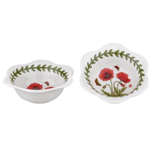 Portmeirion 608863 Botanic Garden Set of 2 Dip Bowls/Tealights, Poppy, White