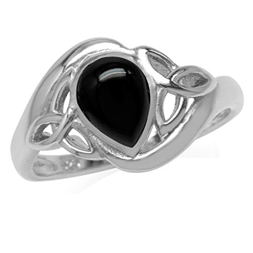 Genuine Pear Shape Black Onyx White Gold Plated 925 Sterling Silver Triquetra Celtic Knot Ring Size 8