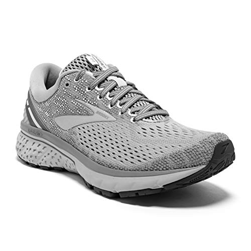 Brooks Womens Ghost 11 Running Shoe - Grey/Silver/White - B - 10.0 (Best Marathon Shoes For Heavy Runners)