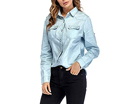 1c1bd7aae5f Image Unavailable. Image not available for. Color: Kongsta Spring Woman  Denim Shirt Fashion Style Long Sleeve Casual Shirts Women 2 Colors Blouses  Plus