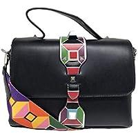 Bolsa Feminina Casual Alça Colorida Importada- 8306 (Preto) (Preto)