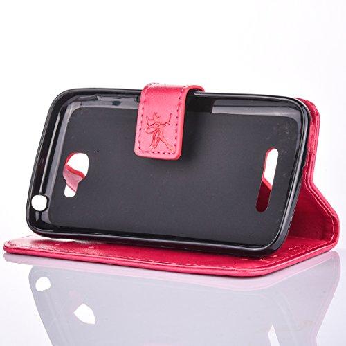Ecoway Para Alcatel One Touch Fierce 2 7040T Funda, (Rosa ) Gofrado Cuero de la PU Leather Cubierta ,Función de Soporte Billetera con Tapa para Tarjetas Soporte para Teléfono escarlata