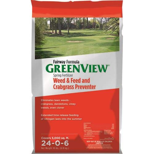 GreenView 2129267 Weed & Feed + Crabgrass Preventer, 18 lb. - Covers 5,000 sq. ft, 18 lb. - Covers 5,000 sq. ft. (Weed And Feed Best Price)