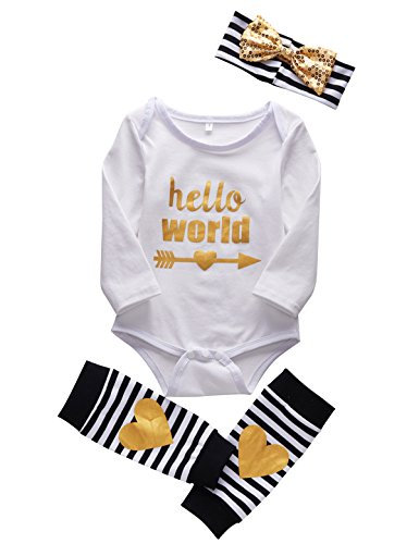 [Mombebe Baby Girls' Bodysuit + Headband + Legging 3PCS Outfit Set (12-18 Months, White)] (White Party Outfit Ideas)