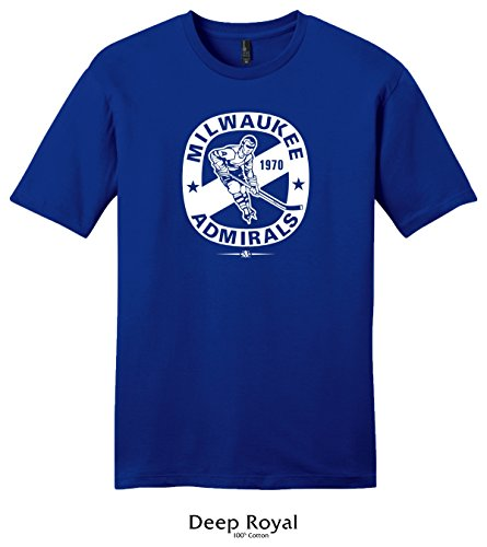 Throwbackmax 1970 Milwaukee Admirals Hockey Tee Shirt (Medium, Deep Royal)