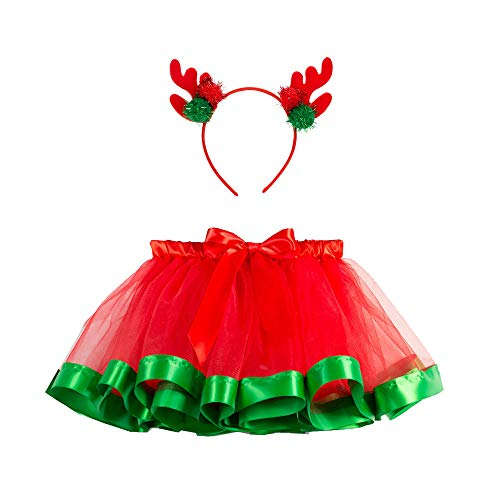 Girls Christmas Costume Pageant Flower Princess Party Dress with Deer Headband, Outfit Deer Antler Tutu Dress -