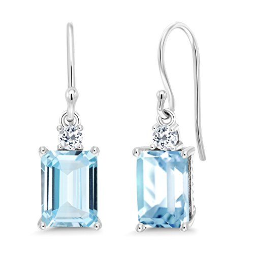 - Gem Stone King 10K White Gold Sky Blue Aquamarine and White Topaz Earrings, 2.96 Ct Emerald Cut