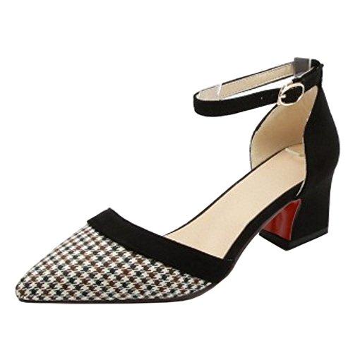Coolcept Tacón Sandalias De Correa Black Tobillo Mdoa Ancho Zapatos Mujer Verano rZqxEawr