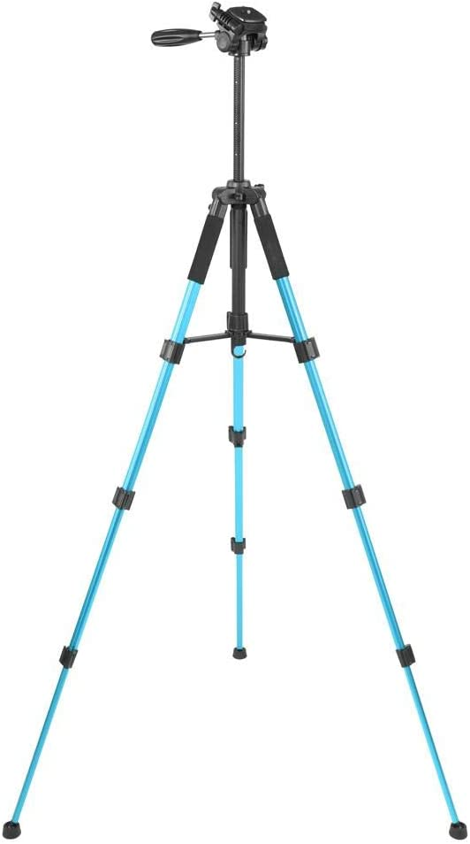 Telescopic Aluminum Alloy Tripod Stand Holder Load up 4.4lb with Hanging Hook and Fluid Pan Head for DSLR Camera Camcorder Digital Camera Blue Retractable Tripod
