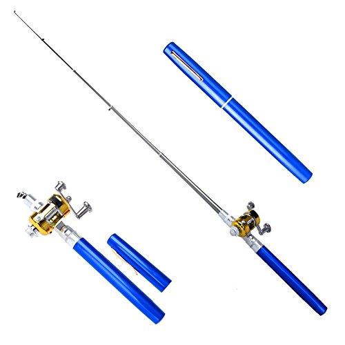 Telescopic Mini Portable Pocket Fish Pen Alloy Fishing Rod Pole + Reel Blue - 5