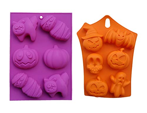 Halloween Theme Mousse Cake Mold DIY 3D Skull Pumpkin Mummy Ice Cream Fondant Chocolate Jelly Silicone Mould Baking Tool Polymer Clay Craft Handmade Soap 6-Cavity Tray 2 Pcs