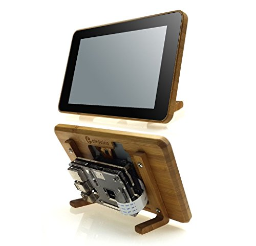 "Eleduino Raspberry Pi Official 7"" Touchscreen Display Bamboo Case+Raspberry pi 3 Black Acrylic Case Kit"