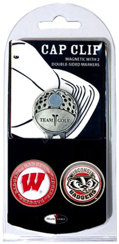 Team Golf NCAA Wisconsin Badgers Golf Cap Clip with 2 Removable Double-Sided Enamel Magnetic Ball Markers, Attaches Easily to Hats