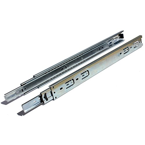 GlideRite Hardware 1270-ZC-10 12 Inch Side Mount Full Extension Ball Bearing Drawer Slides with 1 Inch Over-Travel 10 Pack 12'' 1'', 100 lb, Silver by GlideRite Hardware