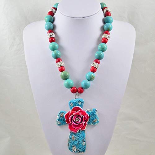 (Chunky Western Hand-Painted Cross Pendant Necklace from)