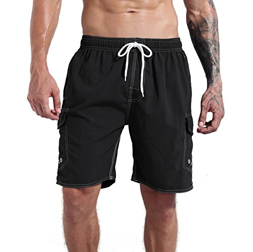 MILANKERR MEN'S SWIM TRUNK,Black,US L by Milankerr