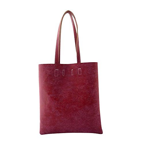 AENMIL Frosted Decor Satchel Bags with Zipper, Retro PU Leather Casual Handbag Shoulder Purse Tote(Wine Red)
