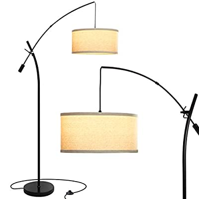 Brightech Grayson LED Arc Floor Lamp- Tall Pole Standing Light Arches over Living Room Sofa or Over Bed - Adjustable Arm with Hanging Pendant Shade