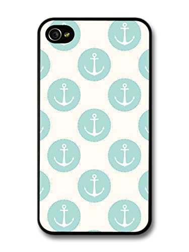 Anchor and Blue Circle Pattern on White Background Vintage coque pour iPhone 4 4S