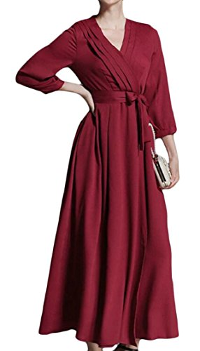V Jaycargogo Donne Più Cotta Formato Stampa Di Epoca Vestito Involucro Il Alta Collo Rosso Dall'oscillazione Vita CwOwTF