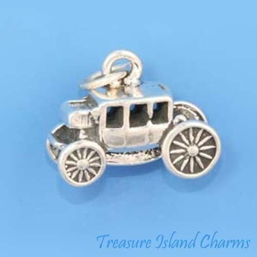 Western Overland Stagecoach Covered Wagon 3D .925 Solid Sterling Silver Charm Ideal Gifts, Pendant, Charms, DIY Crafting, Gift Set from Heart by Wholesale Charms