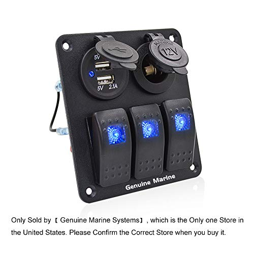 3 Gang Marine Rocker Switch Panel - 3 Pin Waterproof Aluminium Boat Toggle Breaker, Dual 5V USB Charger Socket, DC 12V Slot, Blue LED Indicating Light, Easy Install for Car ()
