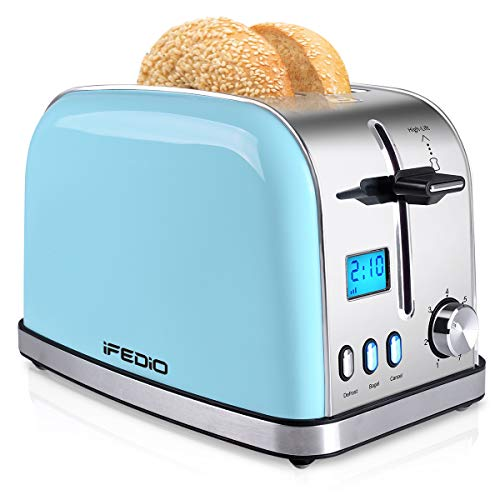 Toaster 2 Slice, Best Rated Prime 2 Slice Toaster [LCD Display], Stainless Steel Compact Bread Toasters Wide Slots Pop…