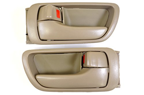 PT Auto Warehouse TO-2469E-DS - Inside Interior Inner Door Handle/Trim, Beige/Tan - Left/Right Pair