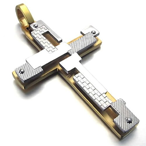 Bishilin Stainless Steel Two Tone Cross Pendant Necklaces 22 Inch for Mens with Free Engraved Service