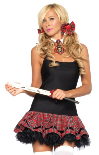 School Girl 3 Piece Costumes (Leg Avenue Women's 3 Piece School Girl Costume Kit Ruler Crop Plaid Tie and Matching Hair Bows, Red, One Size)