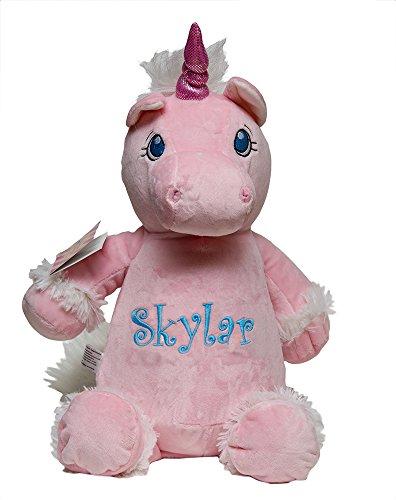 Unicorn Keepsake (Personalized Monogrammed Baby Cubbies PINK UNICORN Stuffed Animal Plush Keepsake Gift)