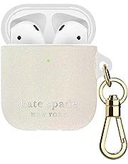 Kate Spade New York Flexible Case for Airpods - White Glitter/Silver Logo/Premium Gold Harware