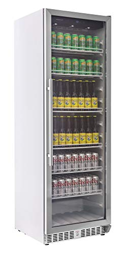(EdgeStar VBR640 14 Cu. Ft. Built-In Commercial Beverage Merchandiser - White and Stainless Steel)