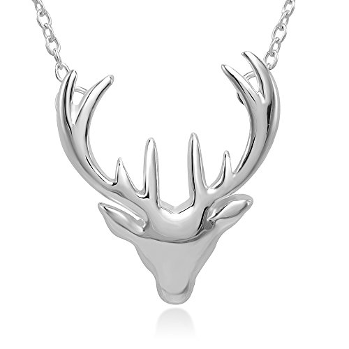 Chuvora 925 Sterling Silver Vintage Stag Deer Elk Head Pendant Necklace 17.5 inches Women Jewelry