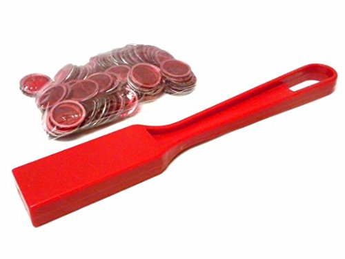 (Bingo Magnetic Wand with 100 Chips - Red)